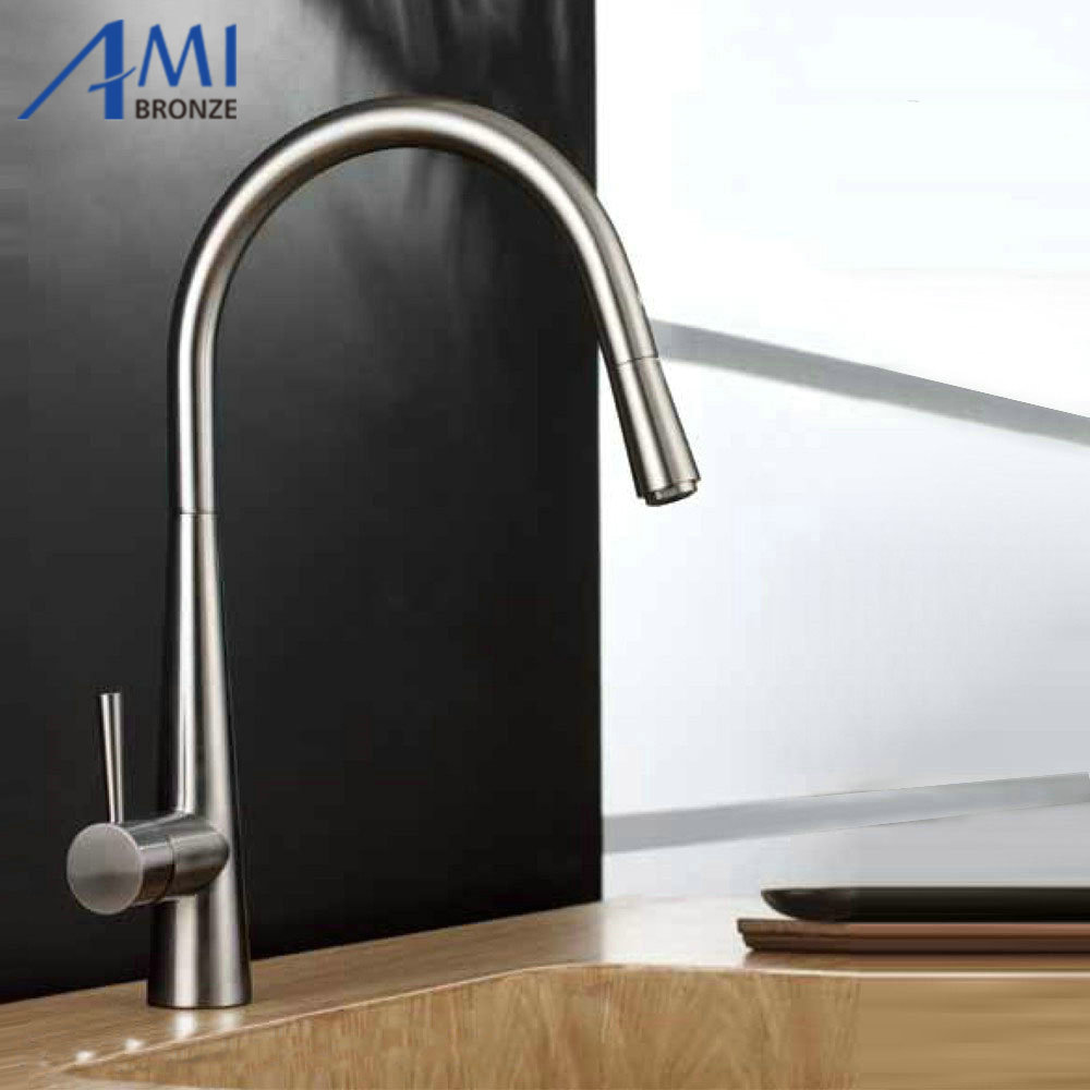Pull out kitchen faucet Brushed Nickel Basin Sink mixer tap swivel 360 rotate Hot Cold Brass Faucet Nickel/Chrome цена и фото