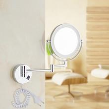 """Gratis forsendelse 8 """"LED lys vægmonteret runde forstørrelses spejl LED Makeup Spejl batteri make up dame private spejle"""