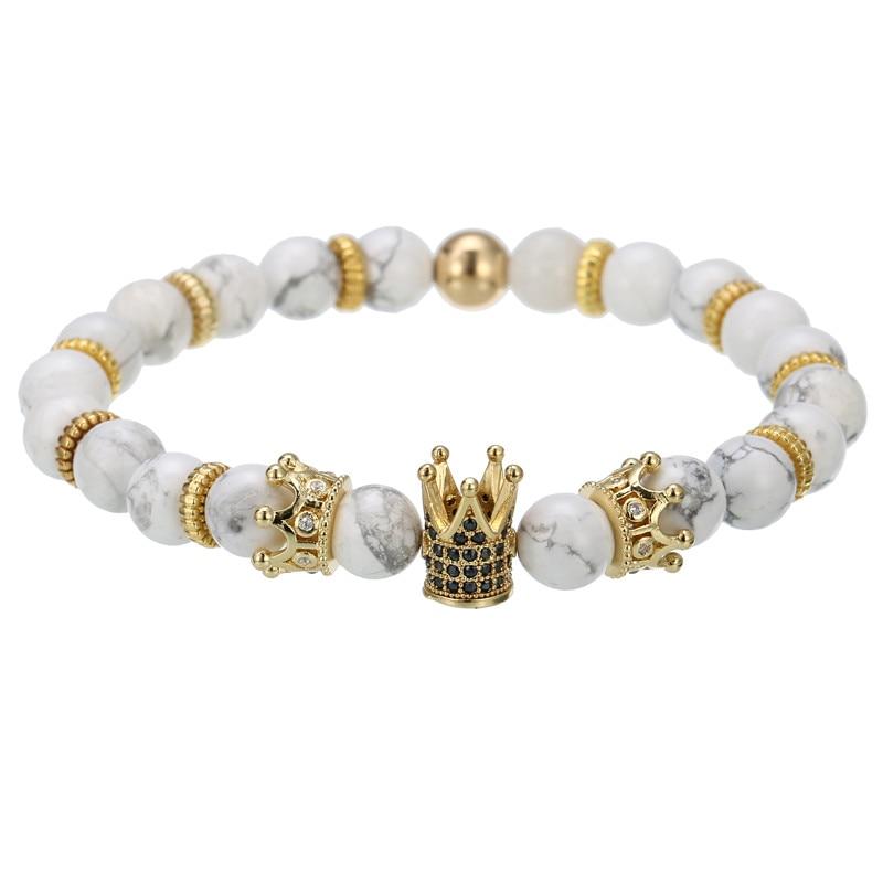 Natural Howlite Lava Red Tiger Eye Stone Bead Women Mens Bracelets CZ King Crown Charm For Fashion Jewellery