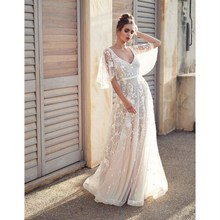 2018 Women Deep V-neck Backless Swing Dress Butterfly Sleeve  Lace Mesh Long Dress Elegant White Party Sexy Dresses