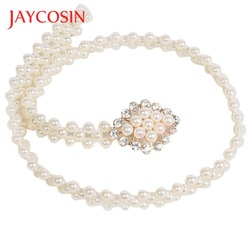 JAYCOSIN Newly Design Women's Fashoin Elegant Faux Pearl Beads Rhinestone Charms Waist Belt Strap 160616 Drop Shipping