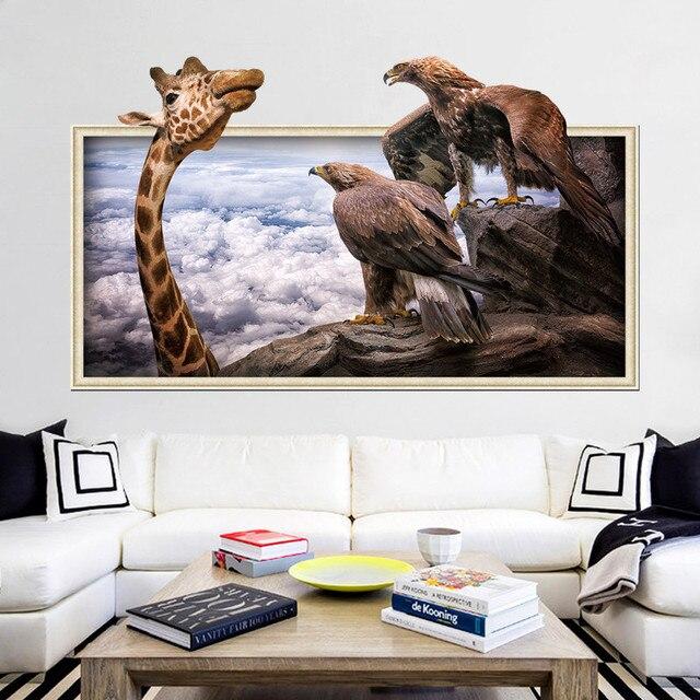 50x70 cm 3D Photo Frame Giraffa Eagles Nube Adesivi Murali Camera Da ...