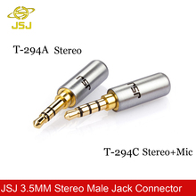 JSJ 2pcs/lot 3.5MM Stereo Male Connector Female Connector 3 Pole 4 Pole with mic for repair iphone headphone