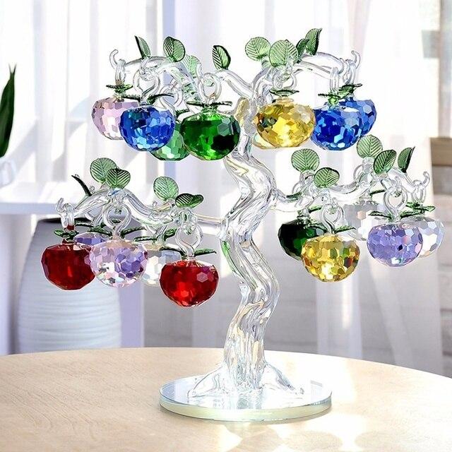 คริสตัลApple Treeเครื่องประดับFengshuiหัตถกรรมHome Decor Figurinesคริสต์มาสปีใหม่ของขวัญของที่ระลึกเครื่องประดับตกแต่ง