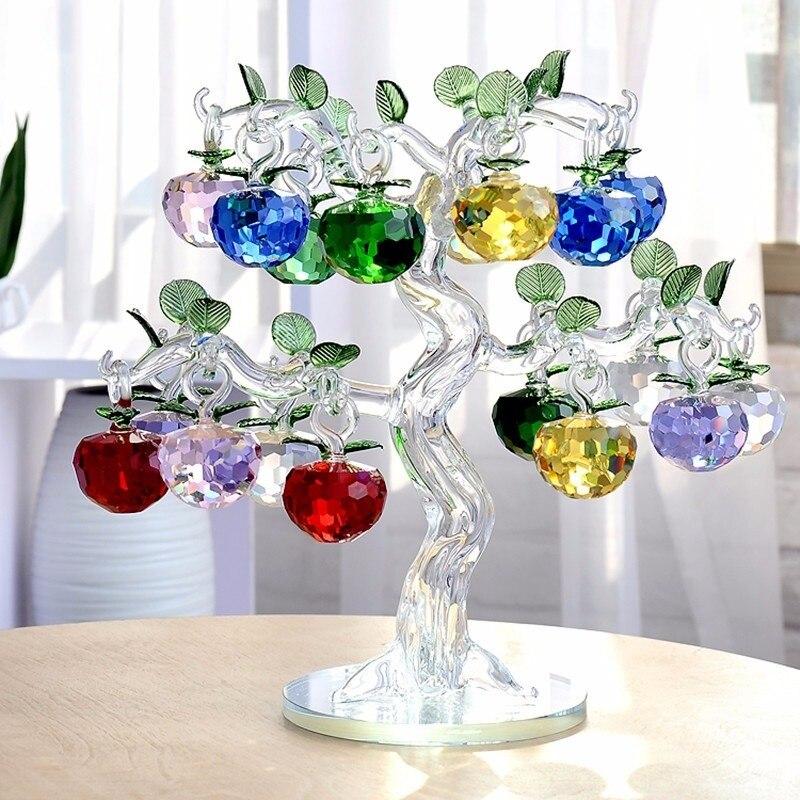 Cristal apple tree com 12 8 6 maçãs fengshui artesanato decoração para casa figurinhas natal ano novo presentes lembranças decoração ornamentos