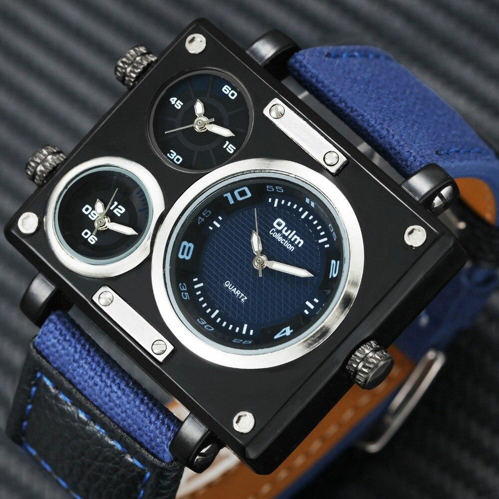 OULM Unique Fashion Canvas Men Watches Military Sports Design 3 Time Zones Rectangle Quartz Wrist Watches for Men Nylon Strap