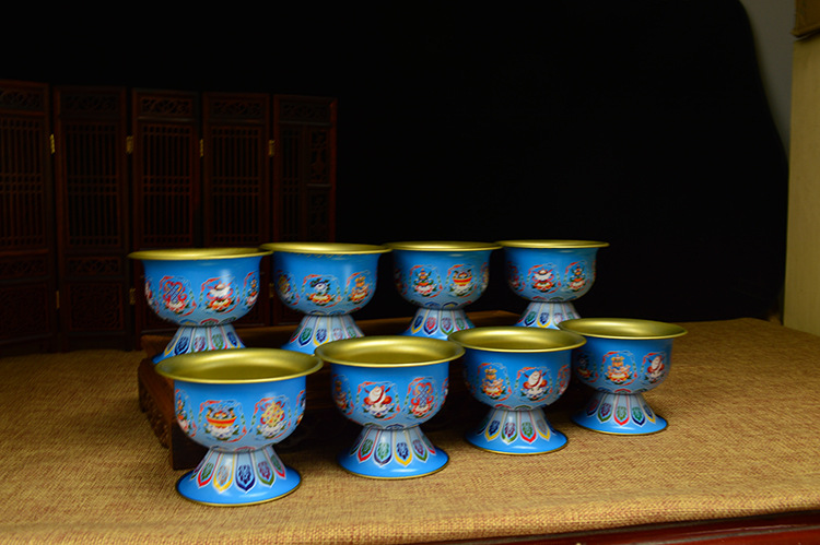 7PCS China Antique Tibet crystal Eight Auspicious Offering Water Bowl A set
