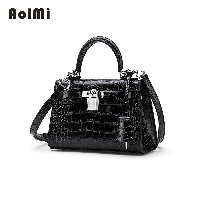 AolMi Summer Box Messenger Bags Handbag Luxury Famous Brand Women Cow Genuine Leather Crocodile Bag Small Tote Flap Shoulder Bag