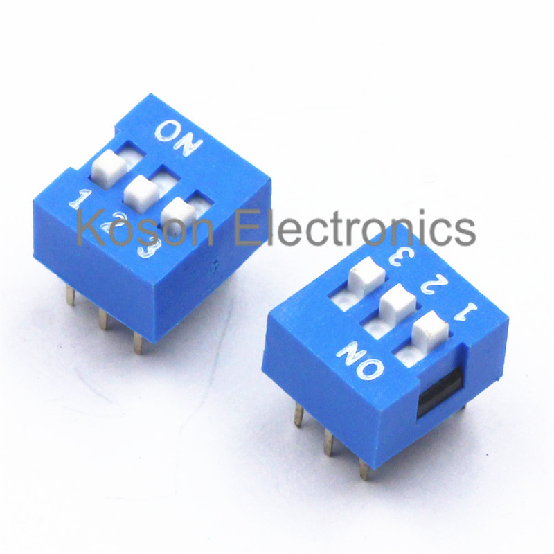 5Pcs DIP Switch 3 Way 2.54mm Toggle Switch Blue Snap Switch