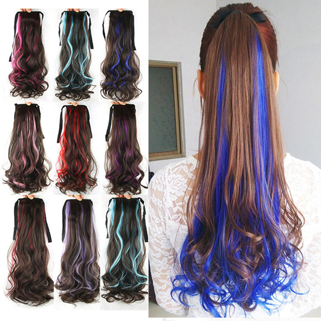 1pc 75g 22inch Colored Synthetic Hair Drawstring Ponytail Extensions