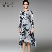 POKWAI Long Vintage Silk Summer Shirt Dress Women Fashion 2017 New Arrival High Quality Long Sleeve