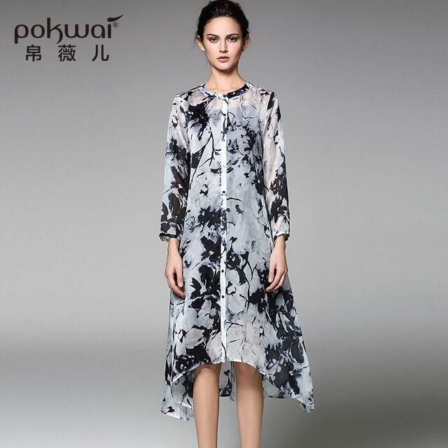 Pokwai Long Dress POKWAI Long Vintage Silk Summer Shirt Dress Women Fashion 2017 New Arrival  High Quality Long Sleeve Elegant Retro Print Dresses
