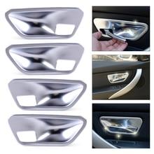 beler 4Pcs Silver Chrome Plated font b Interior b font Door Handle Cup Bowl Cover Trim
