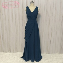 SuperKimJo ชีฟองราคาถูกชุดเพื่อนเจ้าสาวยาวน้านสีฟ้าจีบบุคคลทั่วไปชุดแต่งงาน Vestido Madrinha Casamento ลองโก