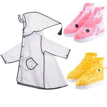 Di alta Qualità Impermeabile Della Ragazza Dei Capretti Cusodie per scarpe + EVA Pioggia Cappotto di Pioggia Pioggia di vestito per I Bambini Studente Scarpe Copertura di Trasporto di Goccia