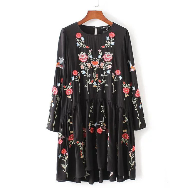 Long Sleeve Vintage Floral Embroidered Dress Women