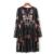 Otoño Marca de Moda Floral Bordado Vestido de Las Mujeres de Cuello Redondo de Manga Larga de La Vendimia Negro Vestido Vestidos 2016 AAZZ8304