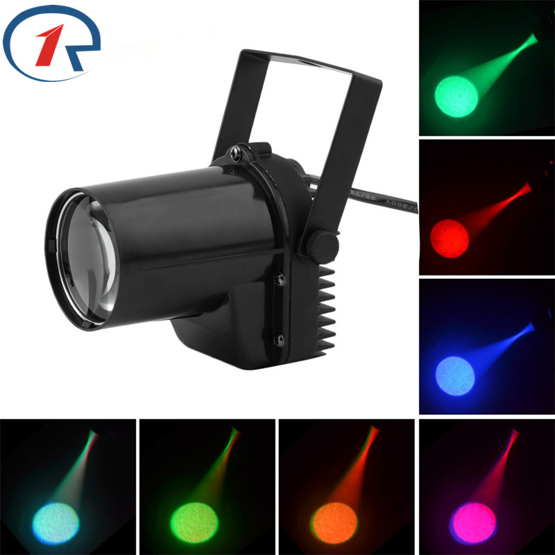 ZjRight 5W Mini LED Pinspot Spotlight Effect Stage Light RGBWYP 6 Color Beam lighting para Mirror Balls Bar ktv DJ Disco show