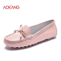 AOKANG 2016New Arrival Women Flats Shoes Brand Women Shoes Women Genuine Leather Shoes White Black Pink