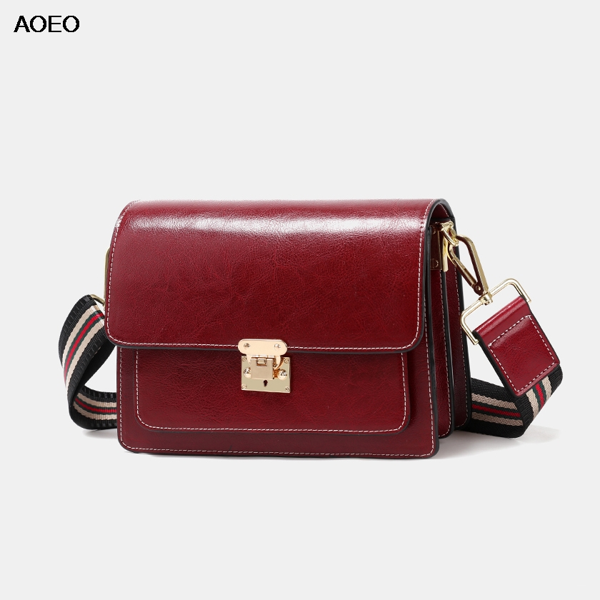 AOEO Free Narrow Wide Two Strap Womens Shoulder Messenger Bags Small Split Leather Fashion Ladies Luxury