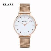 KLARF 2016 Mens Watches Top Brand Luxury Stainless Steel Mesh Strap Quartz Watch Men Fashion Aurora