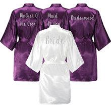 YUXINBRIDAL Purple Gown Satin Silk Bride Robe Wedding Bridesmaid Dressing White Robes
