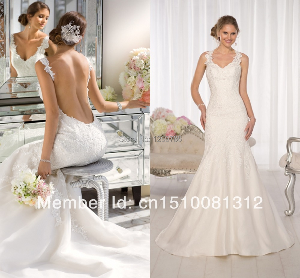 2015 wholesale sexy mermaid wedding dress lace wedding for Plus size beige wedding dresses