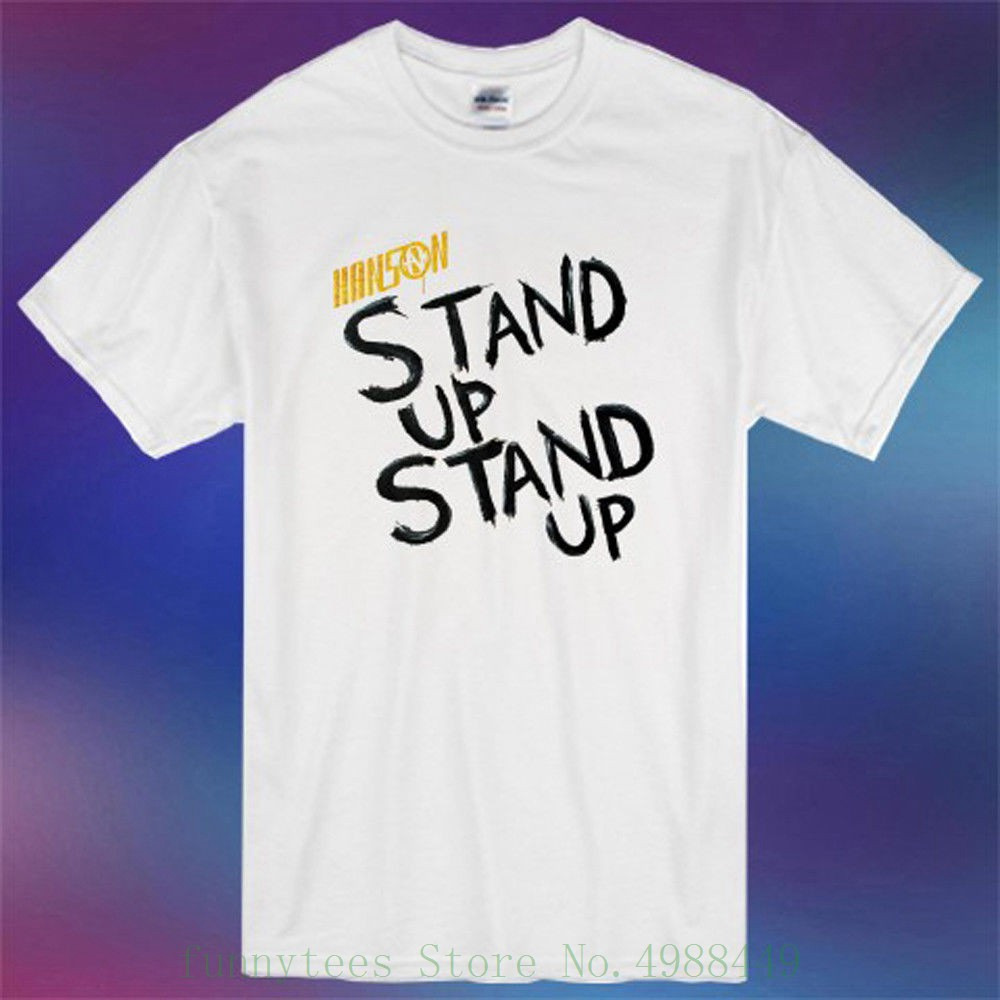 Hanson Pop Rock Band Stand Up Stand Up Album Men/'s White T-Shirt Size S-3XL