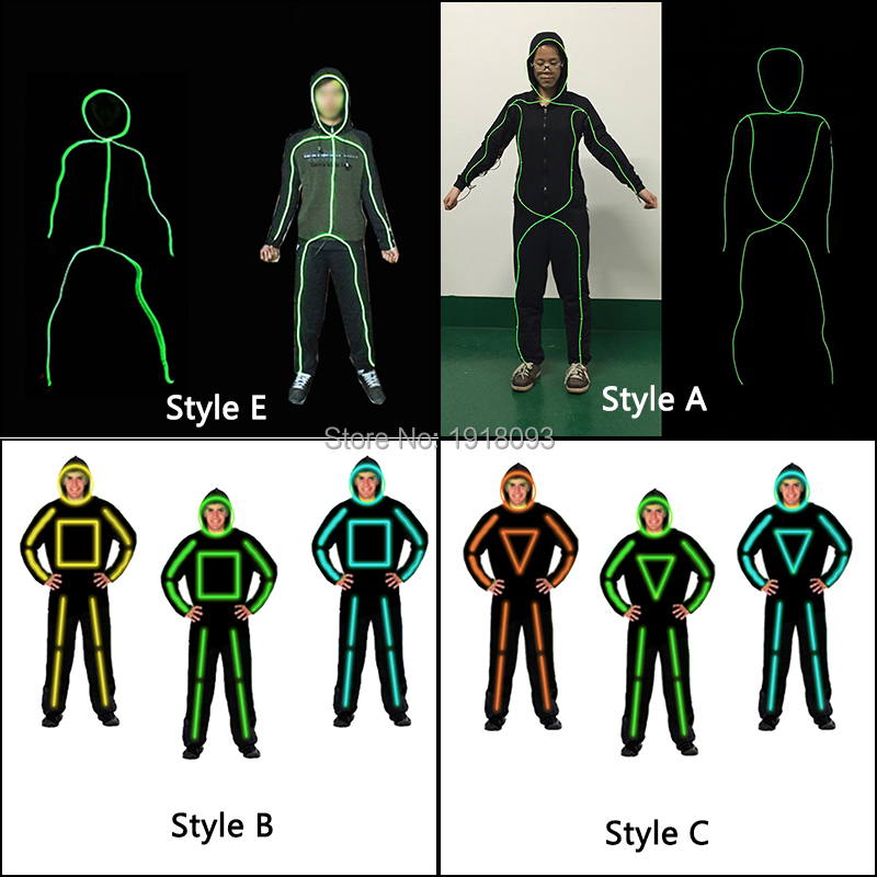 2017 Hot Sales Luminous Costumes Glowing Product EL Wire Suits Light up EL Wire DY Dance Clothes for Holiday Decoration new style holiday party decoration supplies el wire suit diy lights cloth men dance clothes for party decor