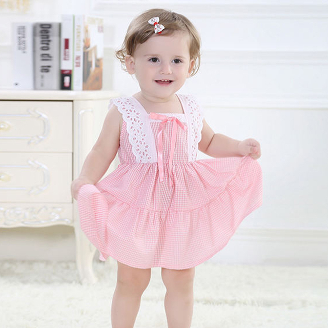 Summer Baby Girl Dress Cotton Sleeveless Princess Dress 2 Colors Kids Tutu Dress Brand Children Clothes for 0-3 yrs