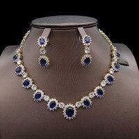for women fashion Navy blue Dubai African bridal bridesmaid Wedding zircon Jewelry Set engagement India necklace earrings