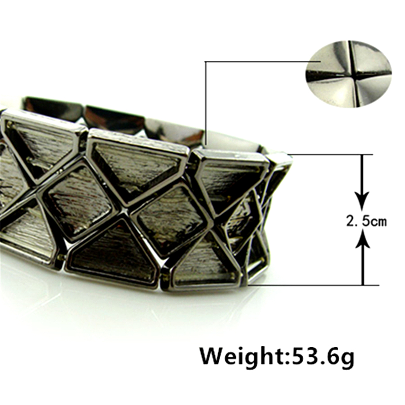 Special store fashion concise wide black alloy metal elastic charm bracelet jewelry