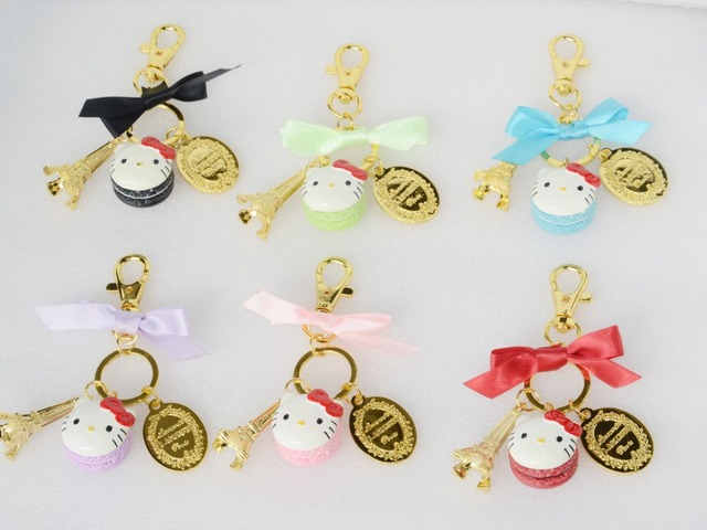 3fe060c205de KC16 New Classic Cartoon Cute Hello Kitty Keychain Key Chain Key Ring Key  Holder laduree Macaron Bag Charms Car Keychains Gifts