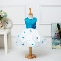 Girl Summer Butterfly Princess Dress Infant Party Dress O Neck Embroidery Children Kids Stitch Dress For