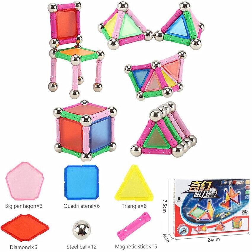 50 шт. магнит игрушка для детей DIY дизайнер бары и металлические шарики магнитного строительные блоки Развивающие игрушки для детей