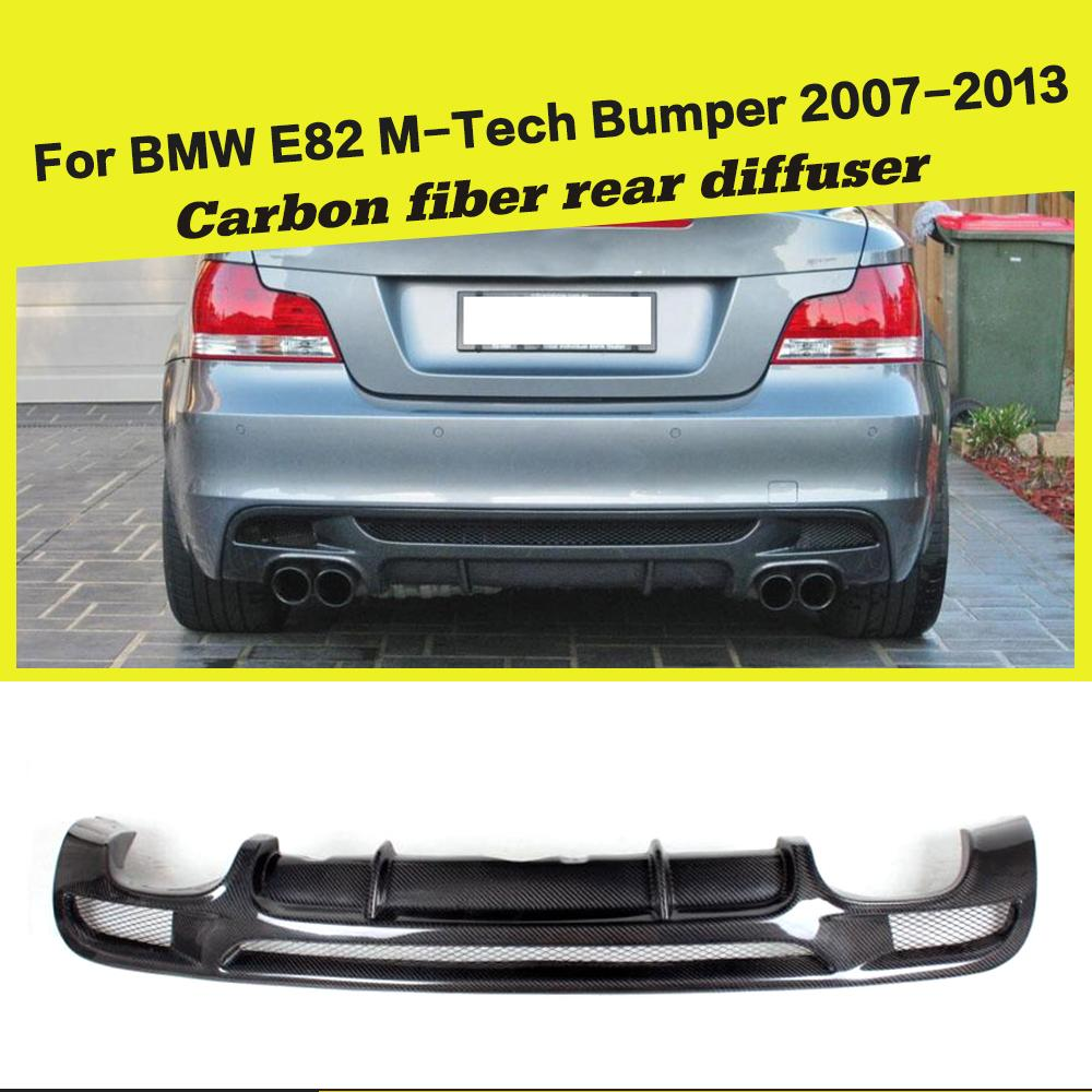Rear Bumper Diffuser Lip Spoiler for <font><b>BMW</b></font> 1Series <font><b>E82</b></font> E88 128i <font><b>135i</b></font> M Sport 2008-2013 M Tech Coupe Convertible Carbon Fiber / FRP image