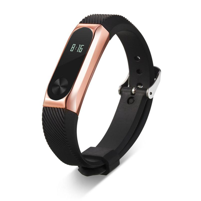New Fashion Metal Bezel Wristband High Quality Rubber Band Strap Bracelet Watch Band Smart For Xiaomi Mi Band 2 July21 new fashion original silicon wrist strap wristband bracelet replacement for xiaomi mi band 2 dignity 8 9