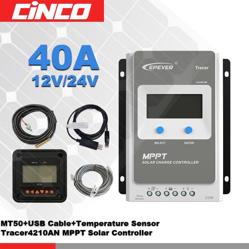 Tracer4210AN 40A 12 V/24 100 V MPPT kontroler słoneczny z MT50 zdalnego metr i kabel komunikacyjny USB i temperatury czujnik w Kontrolery słoneczne od Majsterkowanie na AliExpress - 11.11_Double 11Singles' Day 1