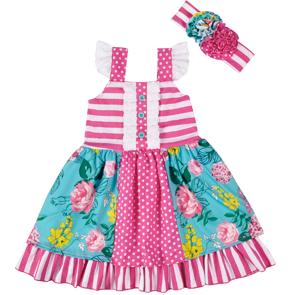 Remake Wholesale Summer Dress Baby Sleeveless Cotton Boutique Dress Baby Girls Clothes Ruffle Dress With Headband LYQ803-082 free shipping 100% tested laser jet for hp4350n formatter board q3653 69005 printer parts on sale