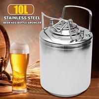 10L Premium Stainless Steel Homebrew Growler Mini Keg Beer Growler Leak Proof Top Lid Beer Bottle Home Brewing Making Bar Tool