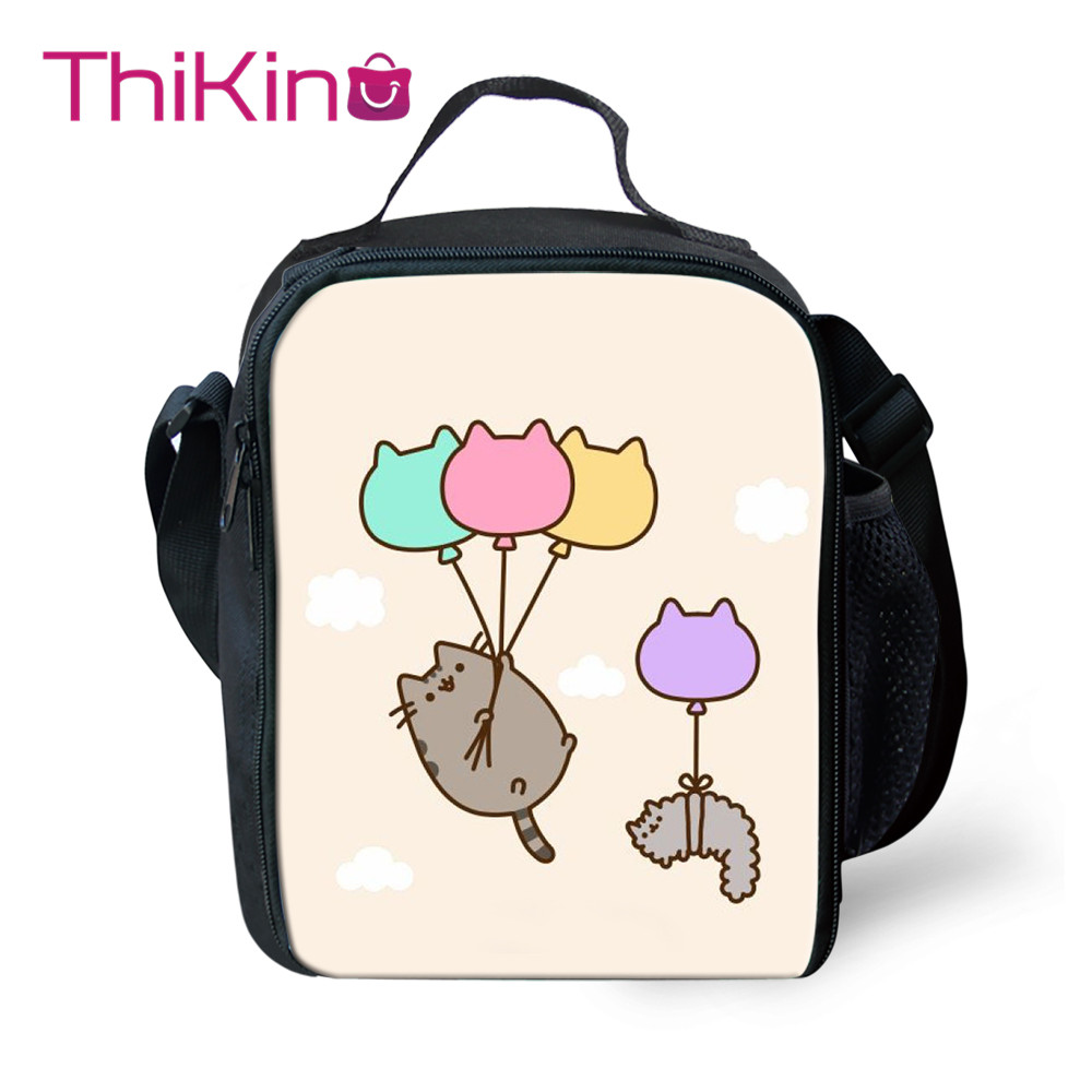 Thikin Casual Cartoon cat Pattern Lunch Bags for Teen Boys Fashion Portable Cooler Box Cartoon Pattern Tote Picnic Pouch in Lunch Bags from Luggage Bags