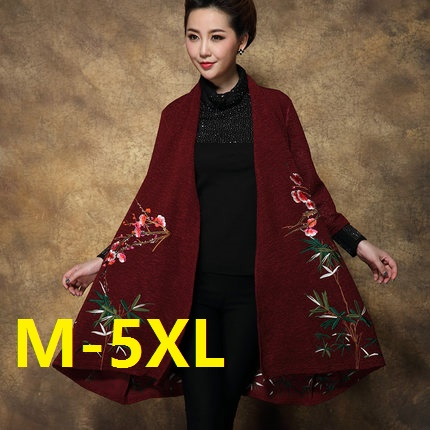 Plus size M-5XL 2016 Spring Trench Coat Women embroidered loose medium-long mother clothing Overcoat trench outerwear цены онлайн