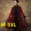 Plus size m-5xl 2016 primavera trench coat mulheres bordado solto médio-longo mãe clothing casaco trench outerwear
