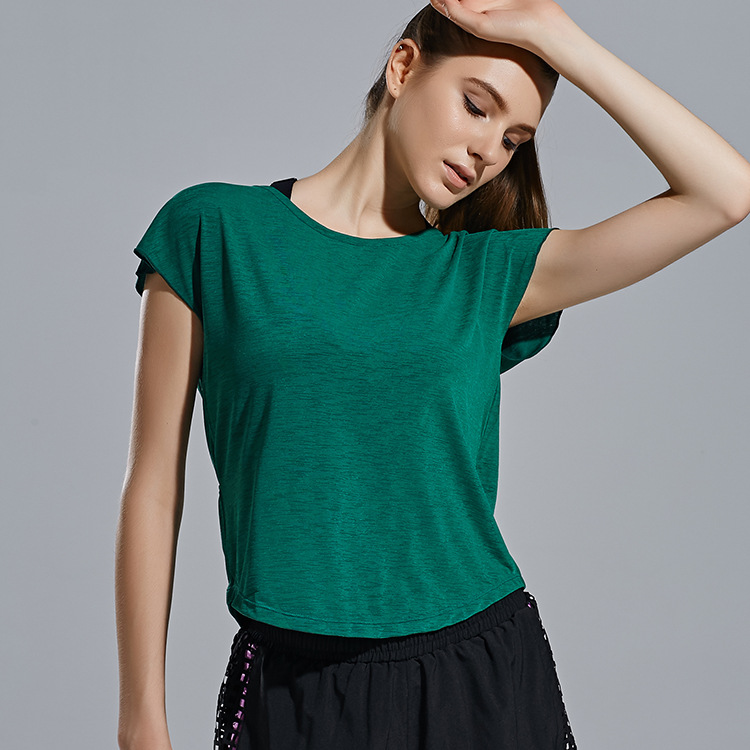 Vertvie Loose Womens Jogging Running T-Shirt Comfort Breathable Polyester Sports Tee Outdoor Quick-Drying Lace-Up O-Neck
