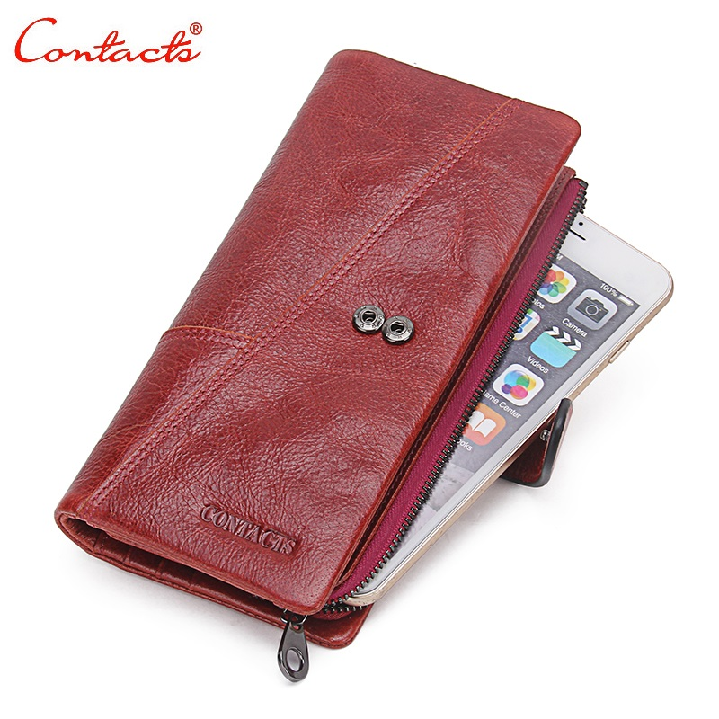 CONTACT'S Genuine Leather Women Wallet men Purse Coin Wallet Famous Brand design Female Card Holder Phone Money Bag Clutch Long