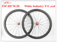 Hot selling Chinese 700C 45mm x 28mm wheels with White Industry T11 hubs and Sapim cx-ray spokes , 28mm wide cycling wheelset