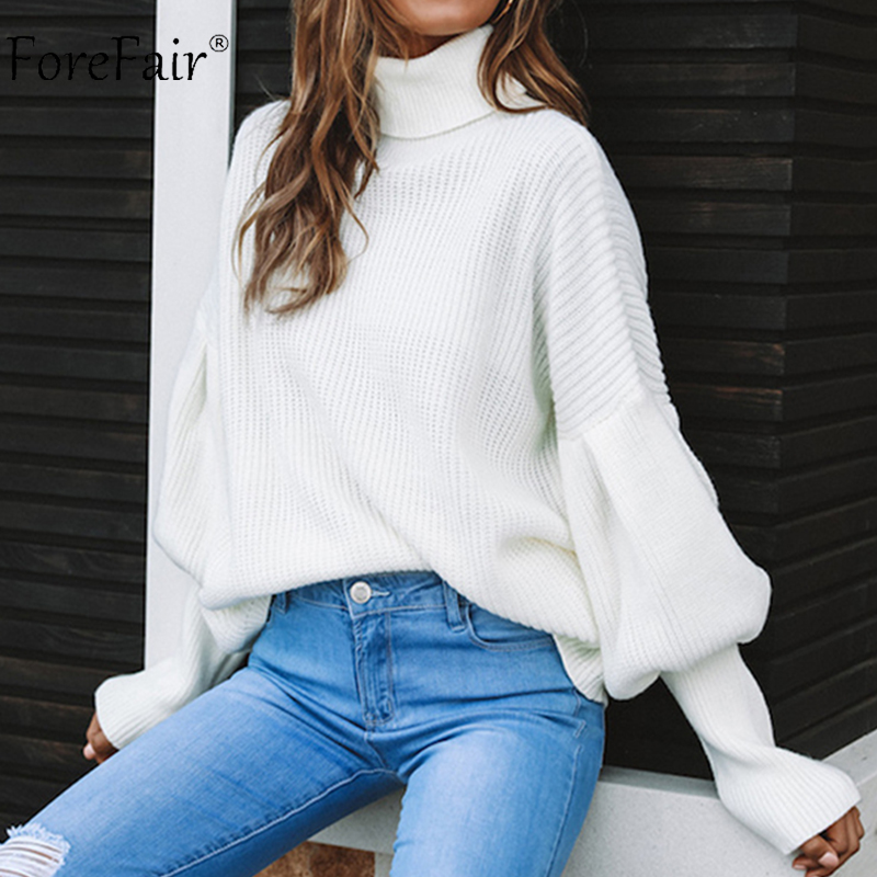 Forefair Lantern Sleeve Turtleneck Knitted Sweater Women 2018 Fashion Warm  Solid Knitting Pullovers Sweaters Winter Ladies fa8bb69ec