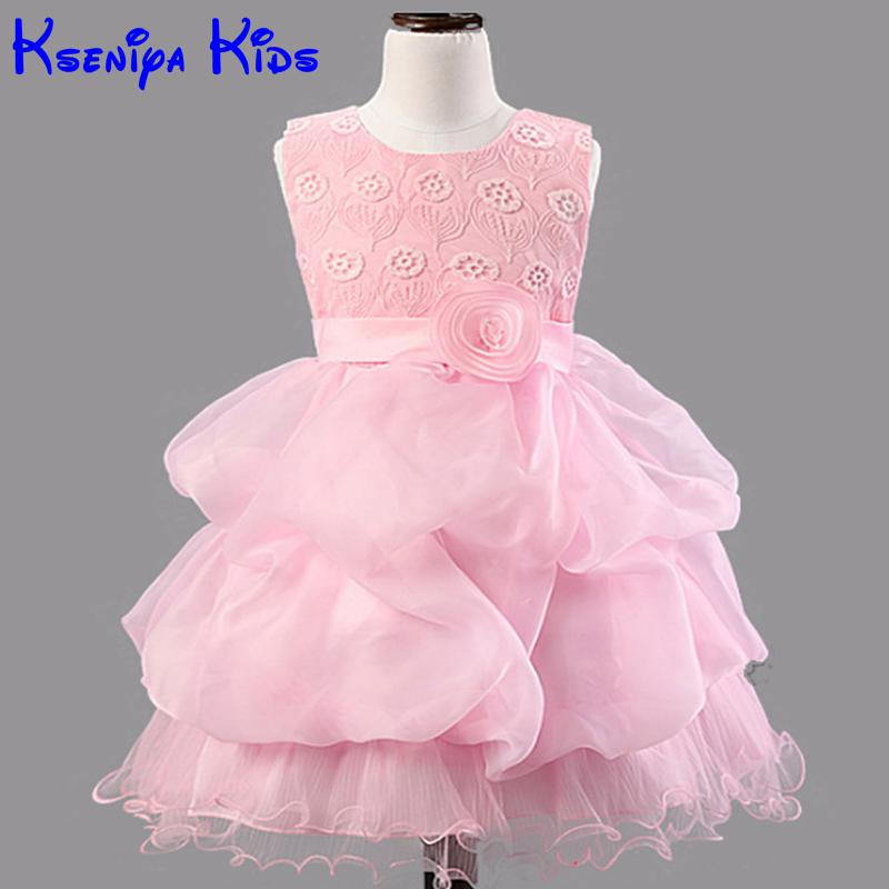 2016 Summer Brand New Girls Kids Fashion Baby Girl Clothes Flower Girls Dresses For Party And Wedding Princess Sofia Lace Dress high grade 2017 summer new baby girls party dress wedding clothes long tail 1 6 yrs girls flower dresses kids clothes retail