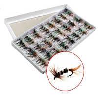96 unids/set varios Señuelos de pesca con mosca seca trucha de salmón moscas secas anzuelo pesca