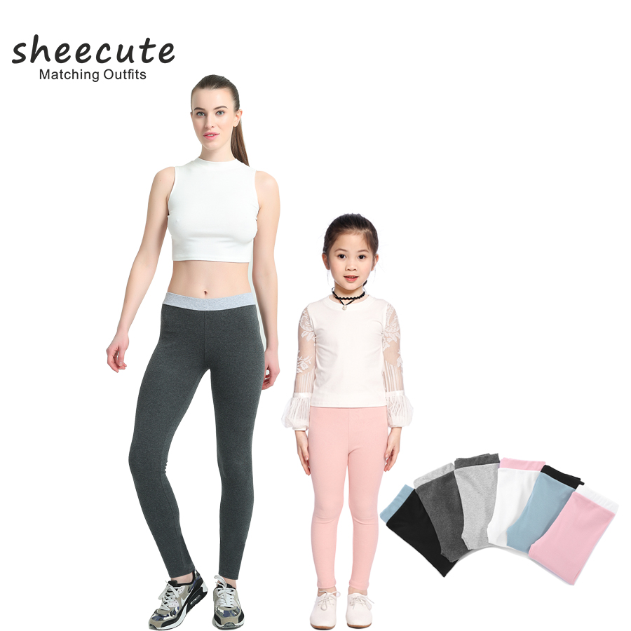 SheeCute Spring Autumn Style Family Match Clothes Ankle legnth Solid Cotton Woman Kids Girl leggings Matching Clothing legging